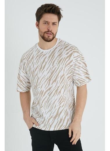 XHAN Beyaz & Siyah Zebra Desen Salaş T-Shirt 1Kxe1-44641-79 Ekru